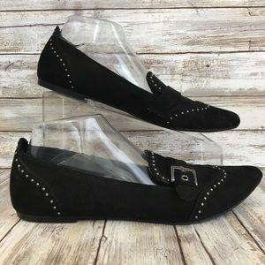 Rock & Republic 9M Womens Black Stud Slip On Flats